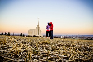 """Rexburg Idaho Temple at Sunrise"" by May Bo Hubbard"